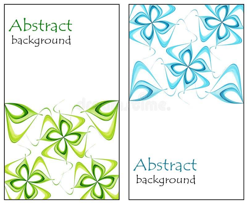 Reeks abstracte groetkaarten met bloemenroze en blauw vector illustratie