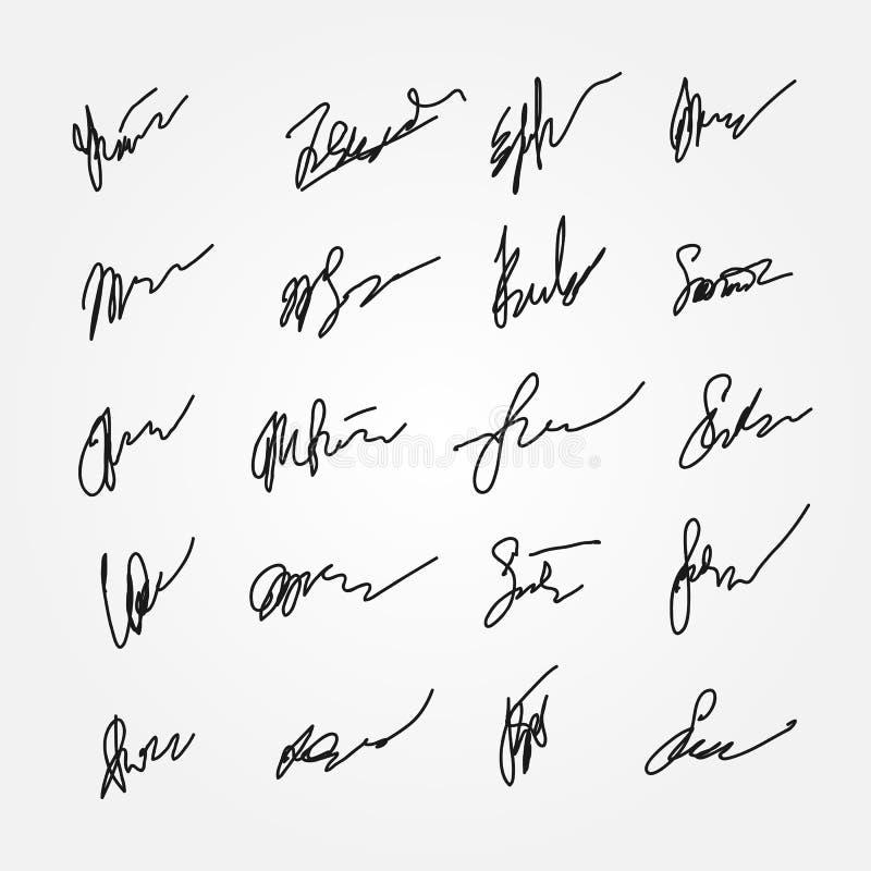 Reeks abstracte handtekeningen Onleesbare autographs stock illustratie