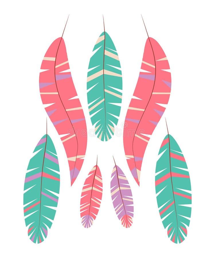 Reeks abstracte heldere veren op witte achtergrond stock illustratie