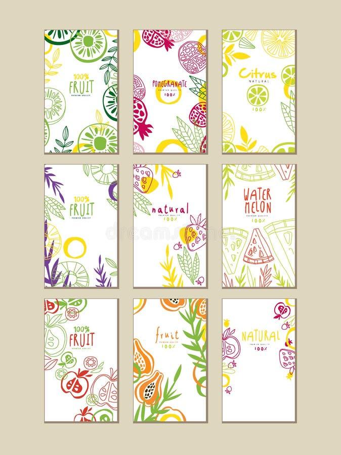 Reeks abstracte kaarten of banners met natuurlijke vruchten Organisch en vers voedsel Het gezonde Eten Creatief vectorontwerp voo stock illustratie