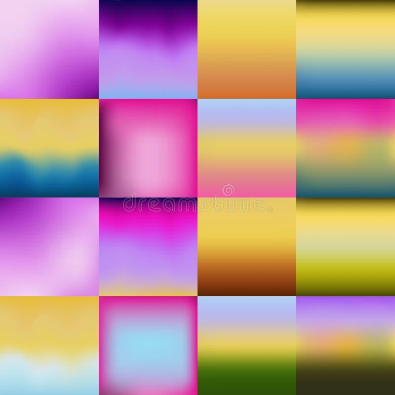 Reeks abstracte kleurrijke vage achtergronden Vector stock illustratie