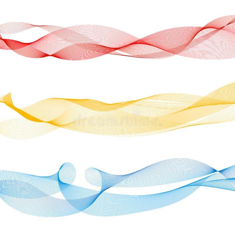Reeks abstracte kleurrijke vlotte rode golflijnen, geel, blauw op witte achtergrond stock illustratie