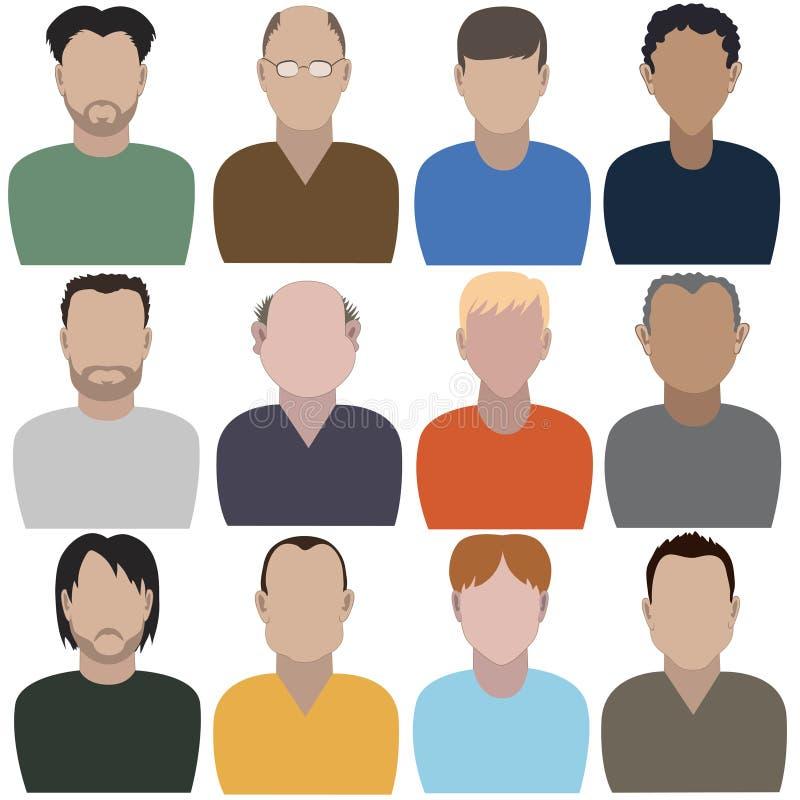 Reeks abstracte mensen Volledig gezicht royalty-vrije illustratie