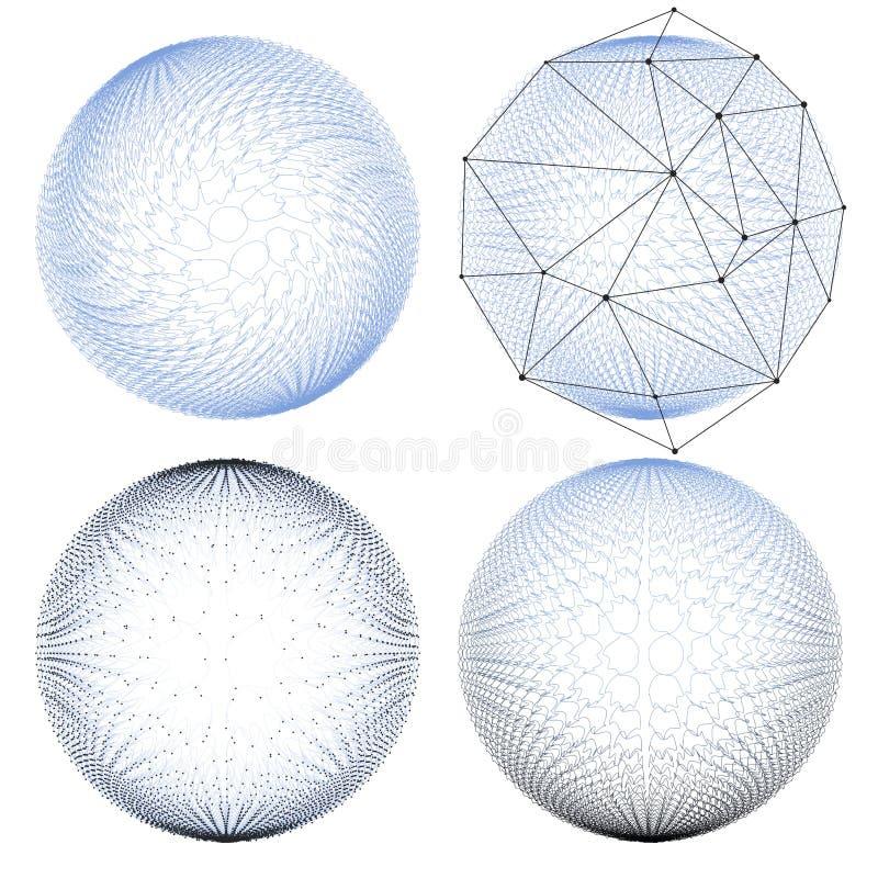 Reeks Abstracte molecules Moleculaire structuur royalty-vrije illustratie