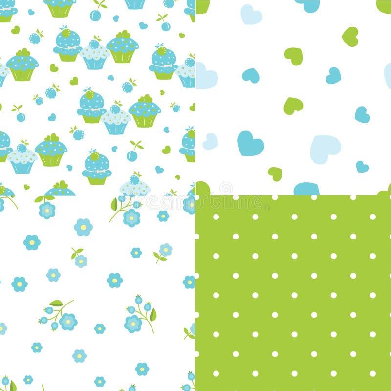 Reeks abstracte naadloze patronen vector illustratie