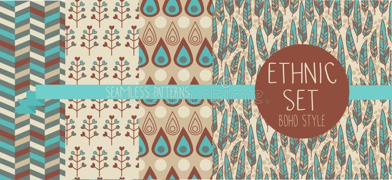 Reeks abstracte naadloze patronen, veren en etnische decoratieve elementen royalty-vrije illustratie