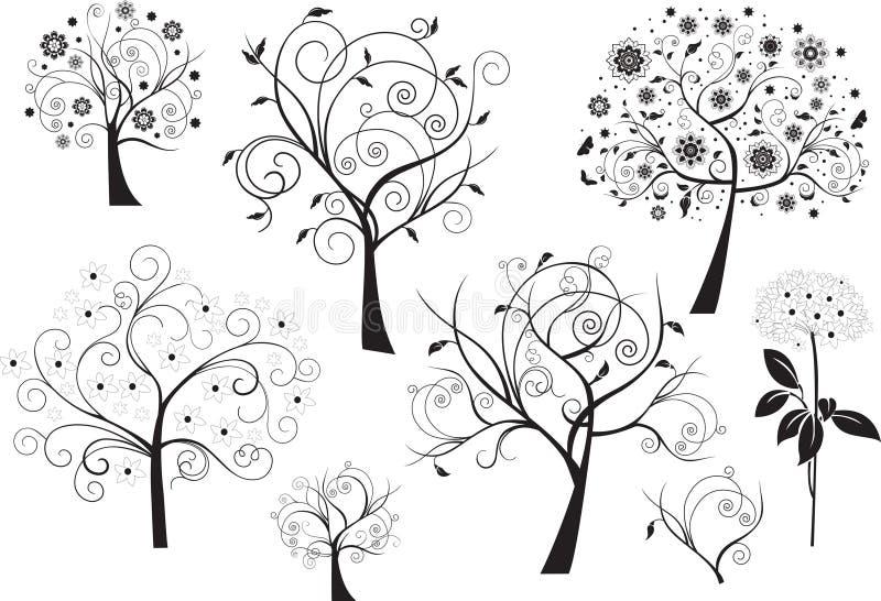 Reeks abstracte ontwerp bloemenelementen vector illustratie