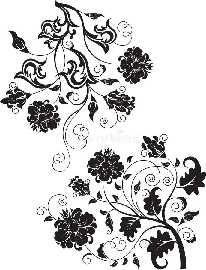 Reeks abstracte ontwerp bloemenelementen stock illustratie