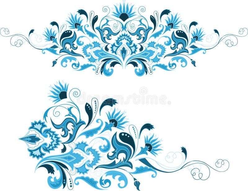 Reeks abstracte ontwerp bloemenelementen royalty-vrije illustratie