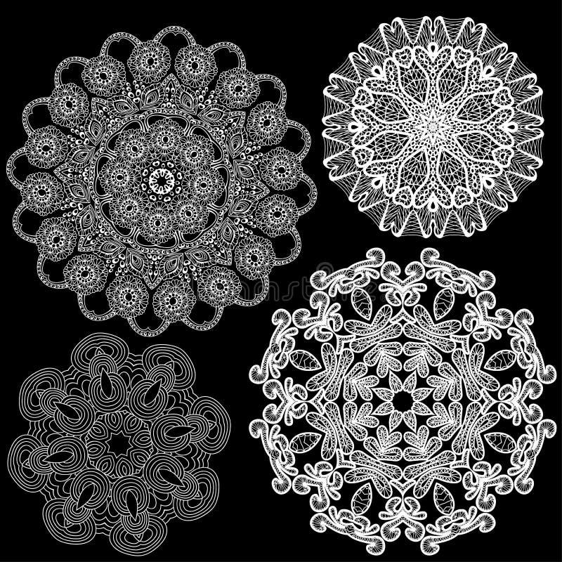 Reeks Abstracte patronen van het cirkelkant. stock illustratie