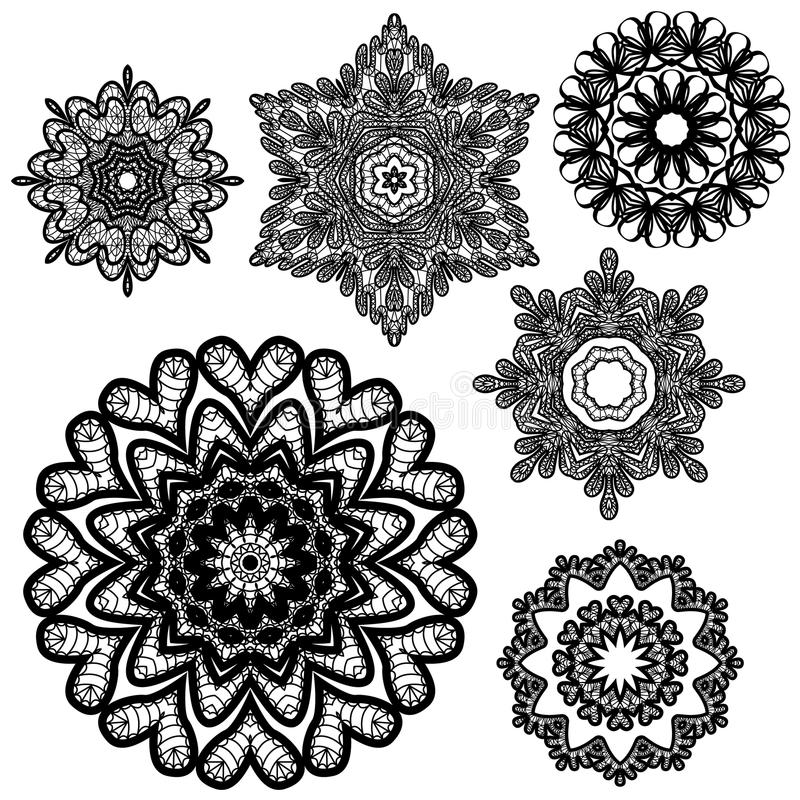 Reeks Abstracte patronen van het cirkelkant stock illustratie
