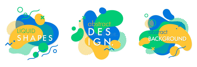 Reeks in abstracte samenstellingen met stromende vloeistofvormen en geometrische elementen stock illustratie