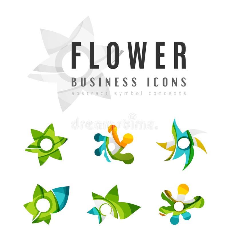 Reeks abstracte van het bedrijfs bloemembleem pictogrammen vector illustratie