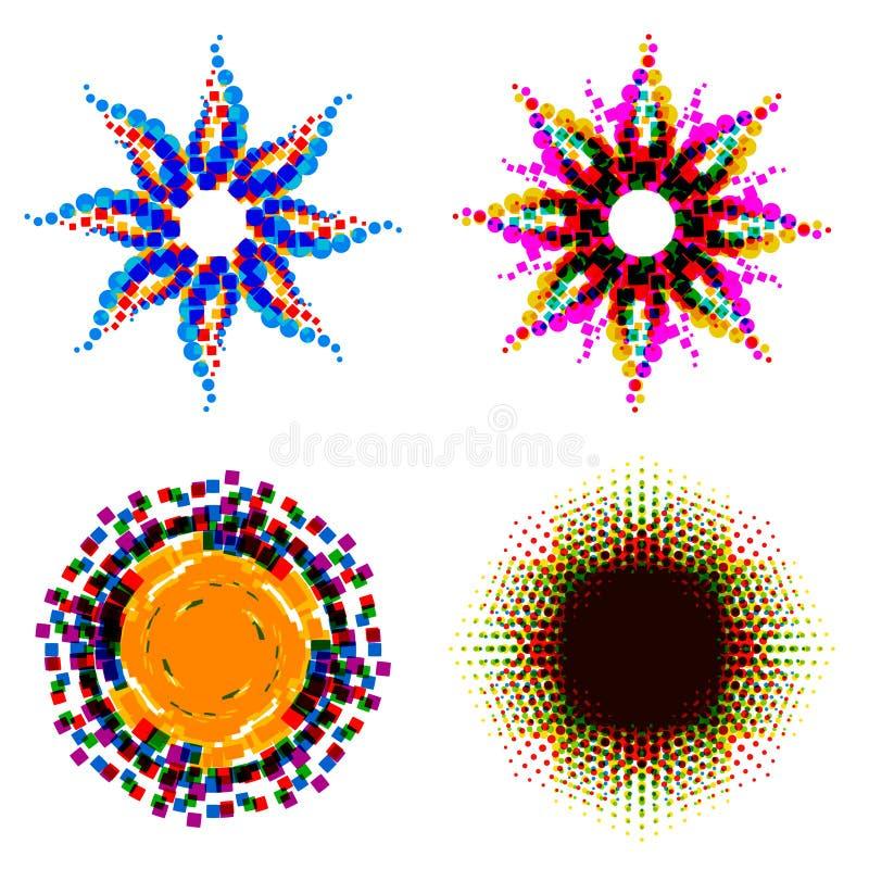 Reeks Abstracte vectorvormen Elementen voor embleem, etiket, embleem, vector illustratie