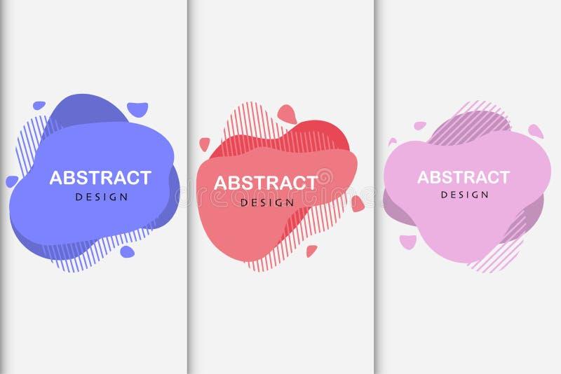 Reeks abstracte vormen van de ontwerp vloeibare kleur stock illustratie