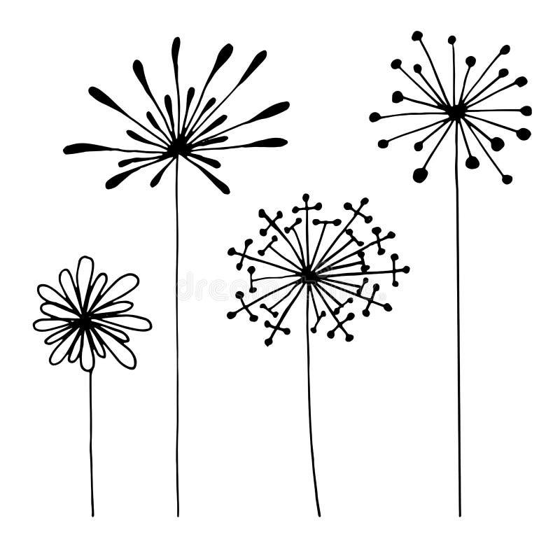 Reeks abstracte zwarte hand getrokken bloemen in krabbelstijl Vector illustratie EPS10 vector illustratie