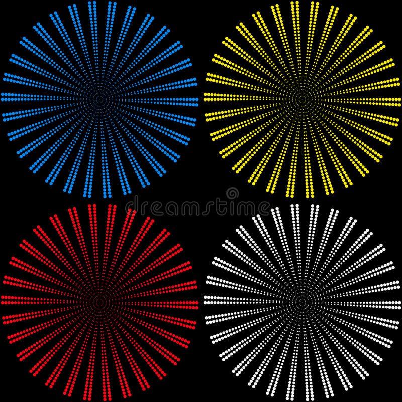 Reeks achtergronden van ballen die uit gekleurde kleine ballen in de vorm van stralen bestaan vector illustratie