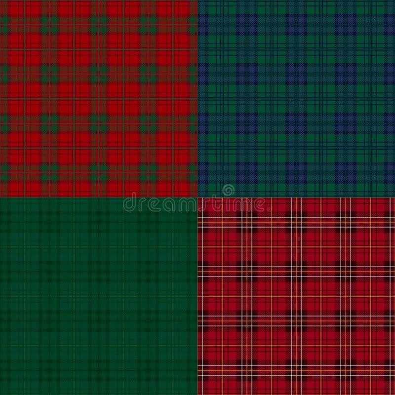 Reeks achtergronden van de geruit Schots wollen stofcontrole. vector illustratie