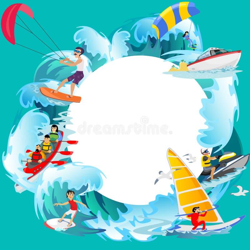 Reeks achtergronden van water extreme sporten, geïsoleerde ontwerpelementen voor het concept van de de activiteitenpret van de de royalty-vrije illustratie