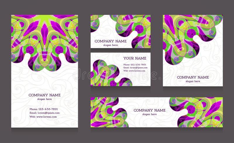 Reeks adreskaartjes en banners vector illustratie