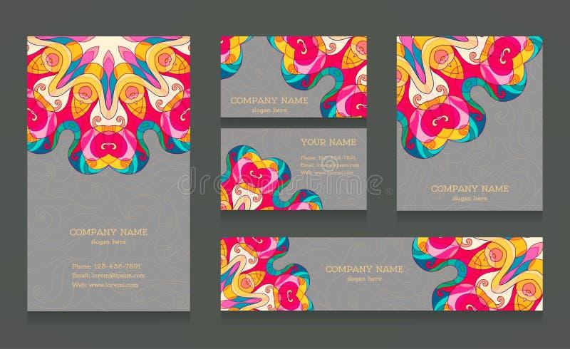 Reeks adreskaartjes en banners royalty-vrije illustratie