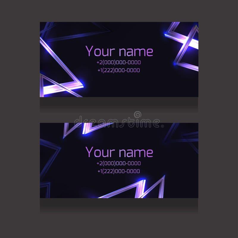 Reeks adreskaartjes met abstracte neondriehoeken en glister op donkere achtergrond Voorwerpen afzonderlijk van de achtergrond vector illustratie