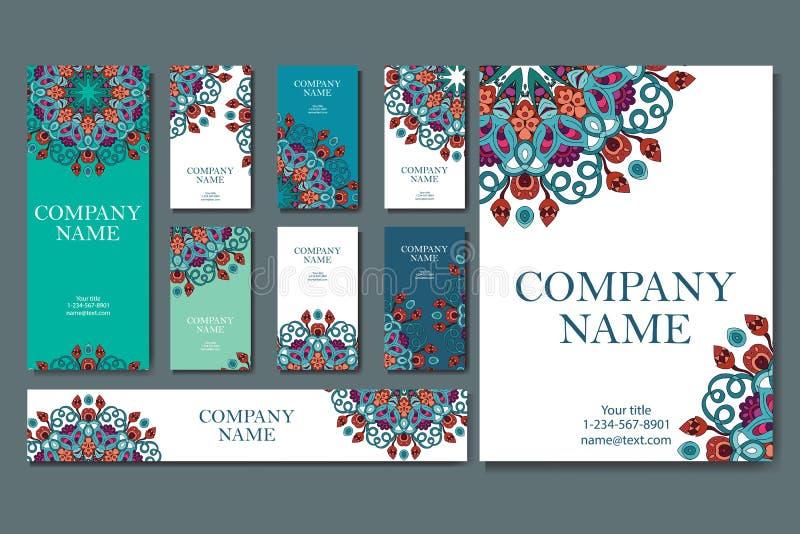 Reeks adreskaartjes Uitstekend patroon in retro stijl met mandala Hand getrokken Islam, Arabisch, Indiër, kantpatroon vector illustratie