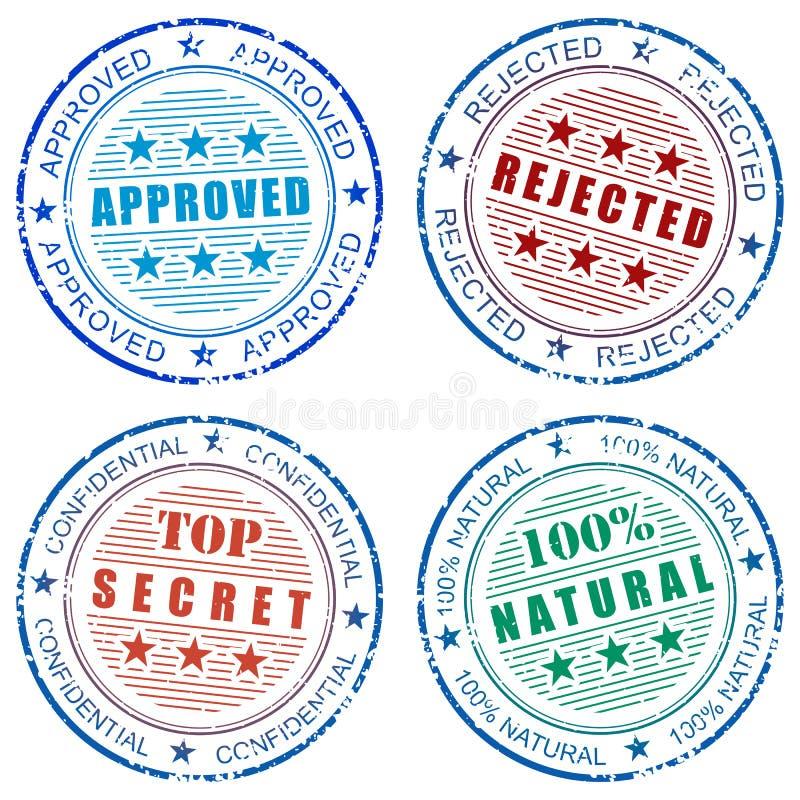 Reeks af:drukken van de grungezegel vector illustratie