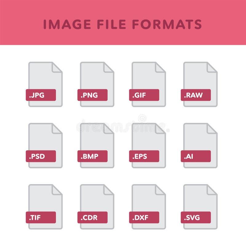 Reeks afbeeldingsbestandformaten en Etiketten in vlakke pictogrammenstijl Vector illustratie vector illustratie