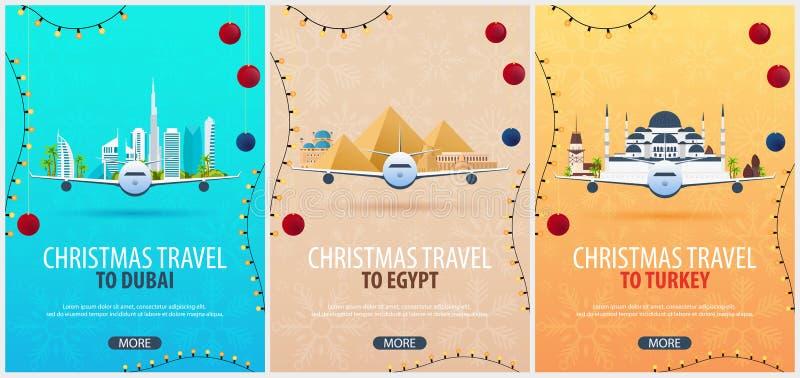 Reeks affiches van de Kerstmisreis aan Doubai, Egypte, Brazilië Bootsneeuw en Rotsen Vector illustratie royalty-vrije illustratie
