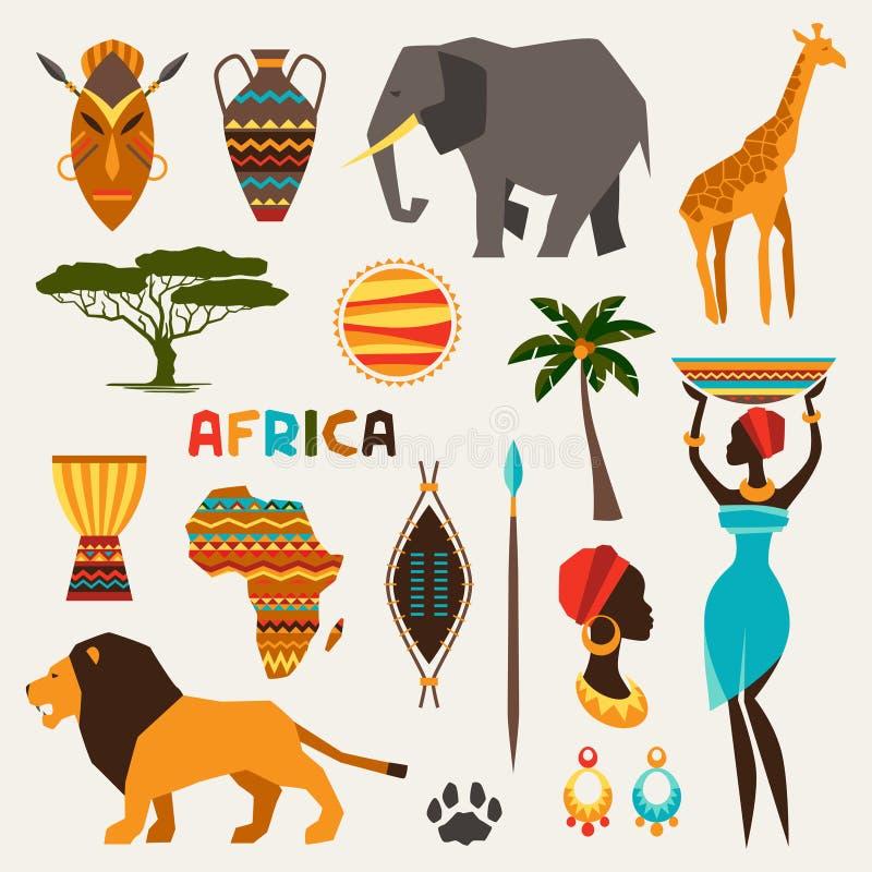 Reeks Afrikaanse etnische stijlpictogrammen in vlakke stijl