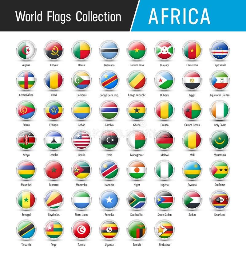 Reeks Afrikaanse vlaggen - Vector ronde pictogrammen stock illustratie