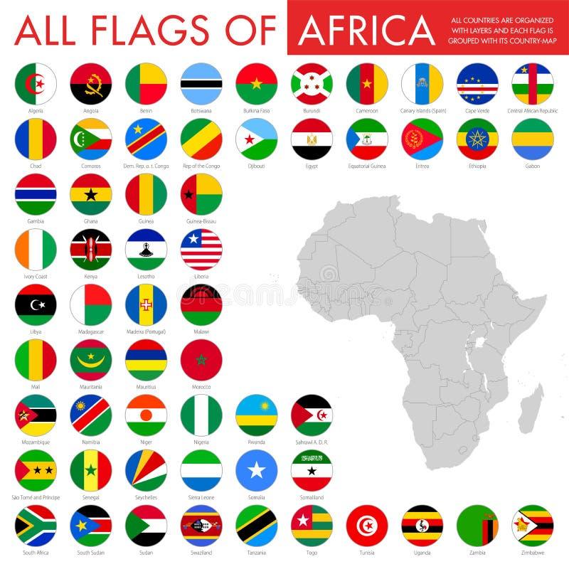 Reeks Afrikaanse vlaggen royalty-vrije illustratie