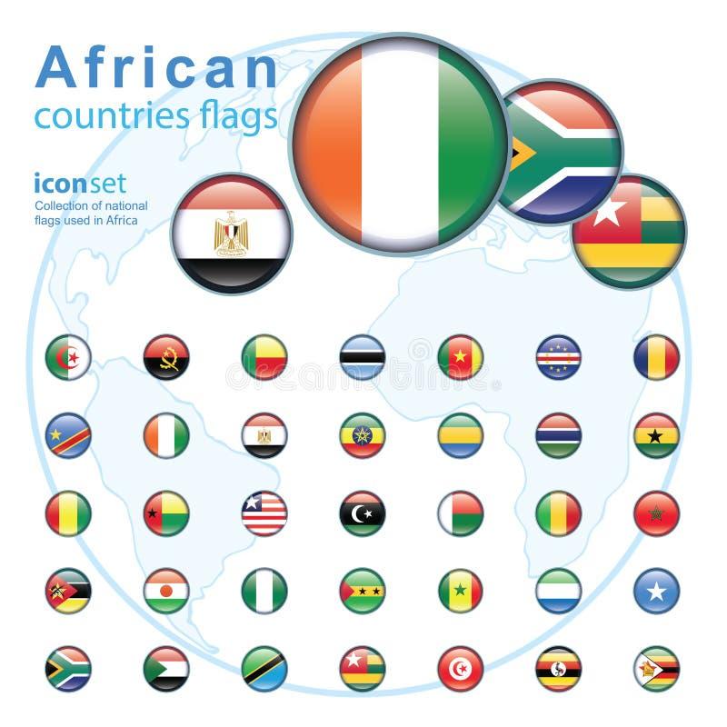 Reeks Afrikaanse vlaggen, vectorillustratie royalty-vrije illustratie