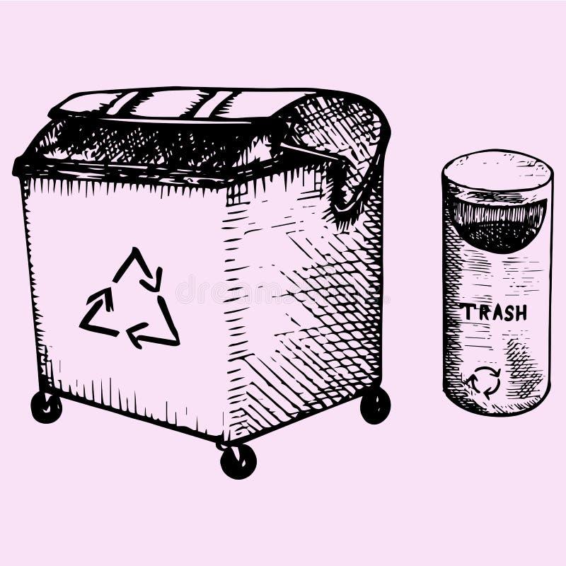 Reeks afvalbakken stock illustratie