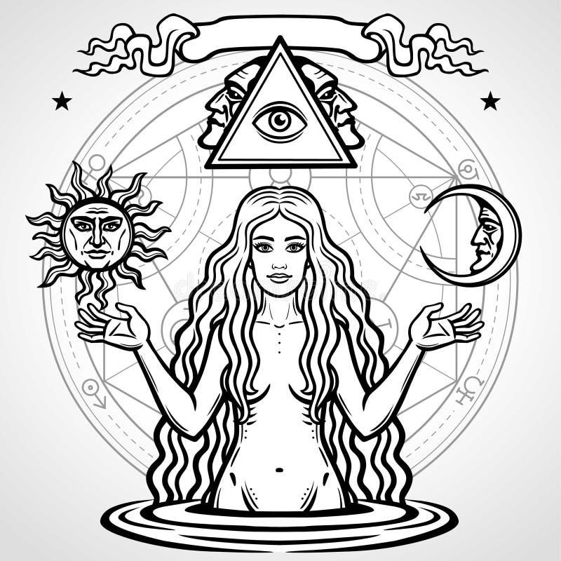 Reeks alchemistische symbolen: de jonge mooie vrouw houdt zon en maan in hand royalty-vrije illustratie