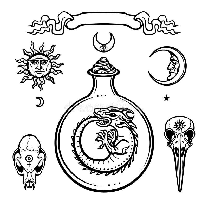 Reeks alchemistische symbolen Oorsprong van het leven Mystieke slangen in een reageerbuis Godsdienst, mystiek, occultisme, hekser royalty-vrije illustratie