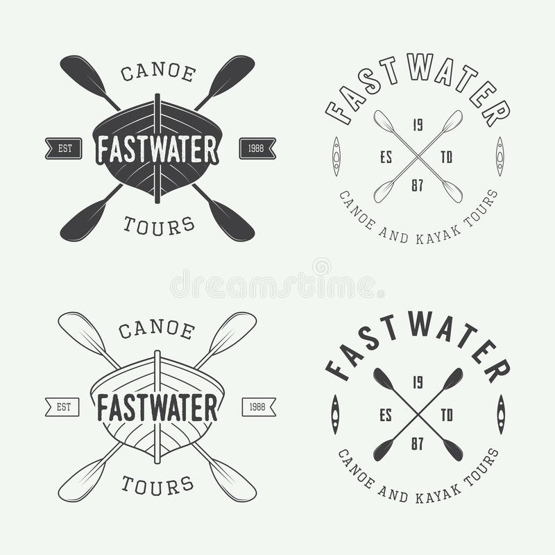 Reeks als uitstekende rafting embleem, etiketten en kentekens stock illustratie