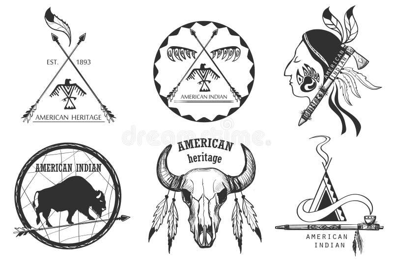 Reeks Amerikaanse Indische emblemen vector illustratie