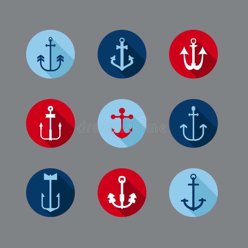 Reeks Anker Zeevaartpictogrammen stock illustratie