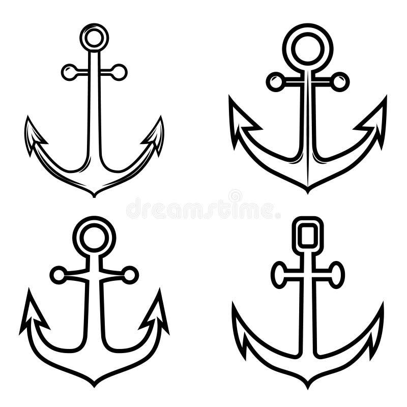Reeks ankerpictogrammen Ontwerpelement voor embleem, etiket, embleem, teken vector illustratie
