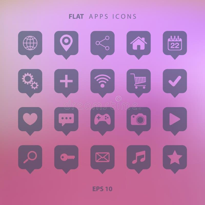 Reeks appspictogrammen op vage achtergrond stock illustratie
