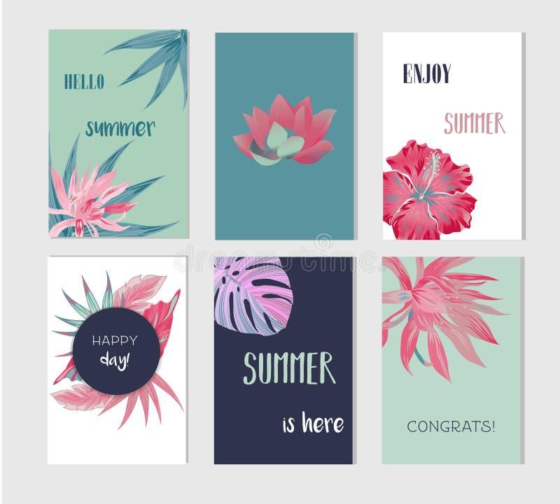 Reeks artistieke creatieve de zomerkaarten royalty-vrije illustratie