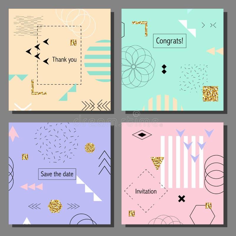 Reeks artistieke kleurrijke kaarten De in stijl van Memphis Dekking met vlak geometrisch patroon royalty-vrije illustratie