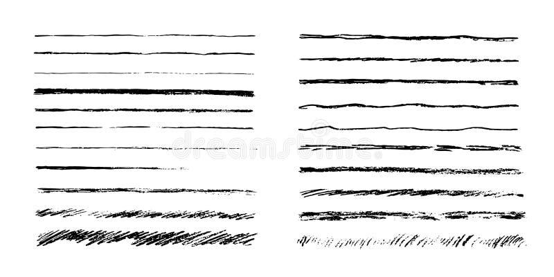 Reeks artistieke potloodborstels Hand getrokken grunge slagen Vector illustratie stock illustratie