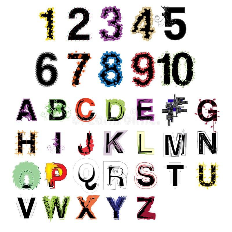 Reeks artistieke vector kleurrijke moderne decoratieve alfabetletters en getallen vector illustratie