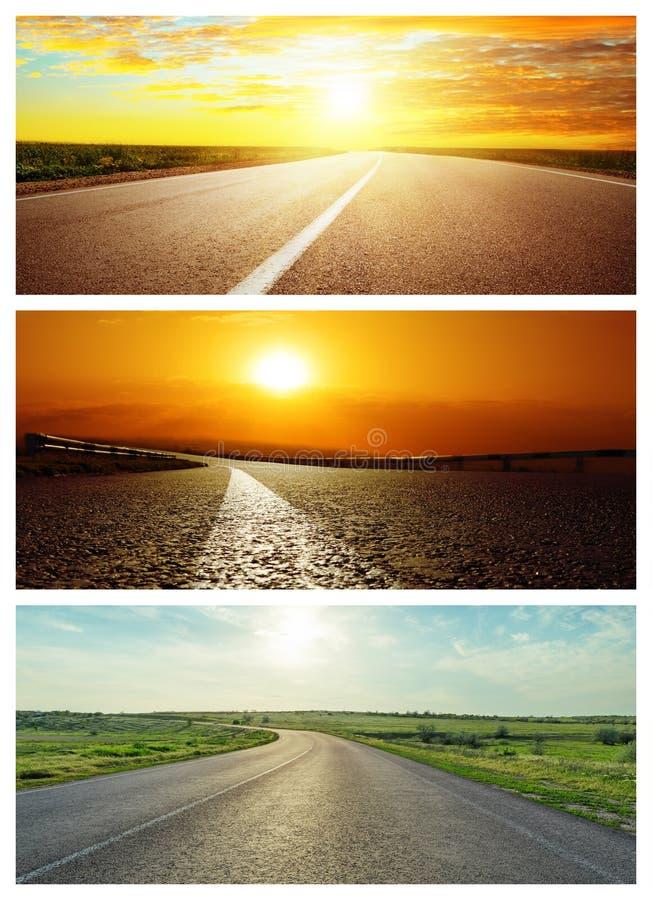 Reeks asfaltwegen in zonsondergang royalty-vrije stock fotografie