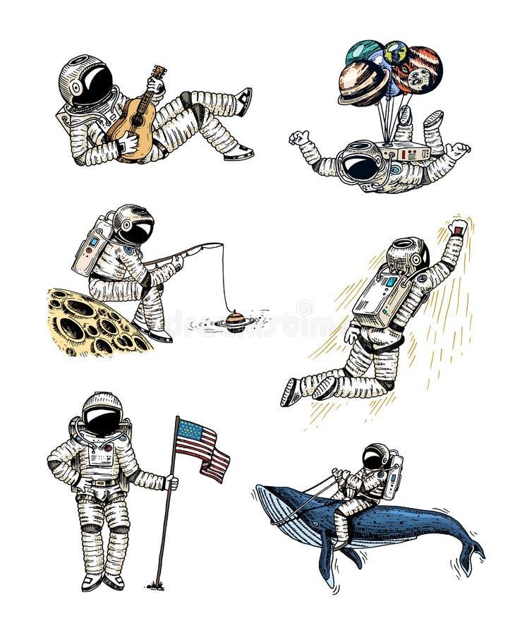 Reeks astronauten in ruimte Inzameling het stijgen ruimtevaarder met vlag, walvis en ballons het avontuur van de dansersmusicus i stock illustratie