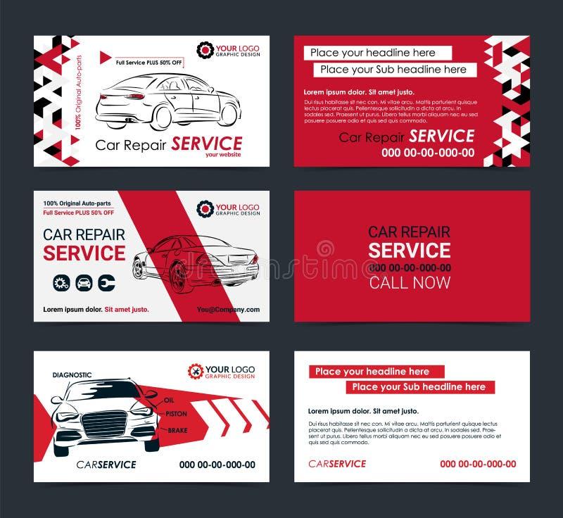 Reeks Automobiel de lay-outmalplaatjes van de Dienstadreskaartjes Creeer uw eigen adreskaartjes vector illustratie