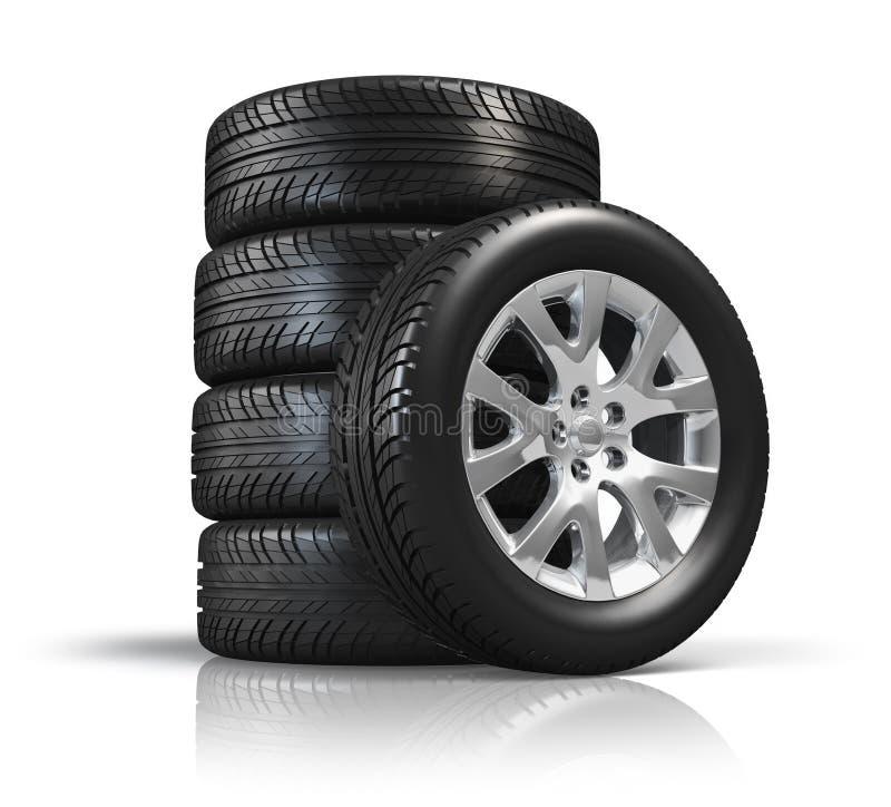 Reeks autowielen vector illustratie